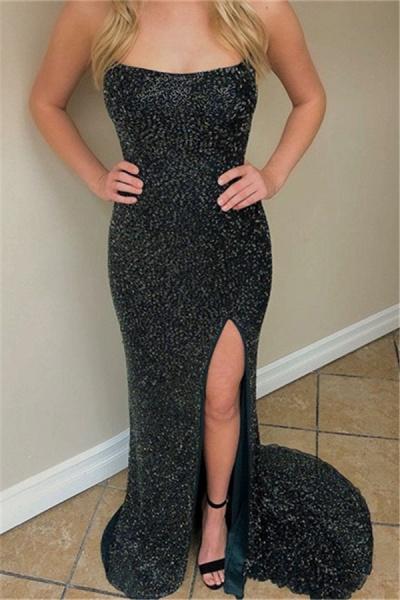 Modest Spaghetti Straps Sequined Column Prom Dress_3