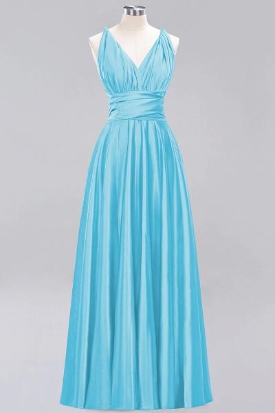BM0143 Simple A-Line V-Neck Sleeveless Ruffles Floor Length Bridesmaid Dress_23