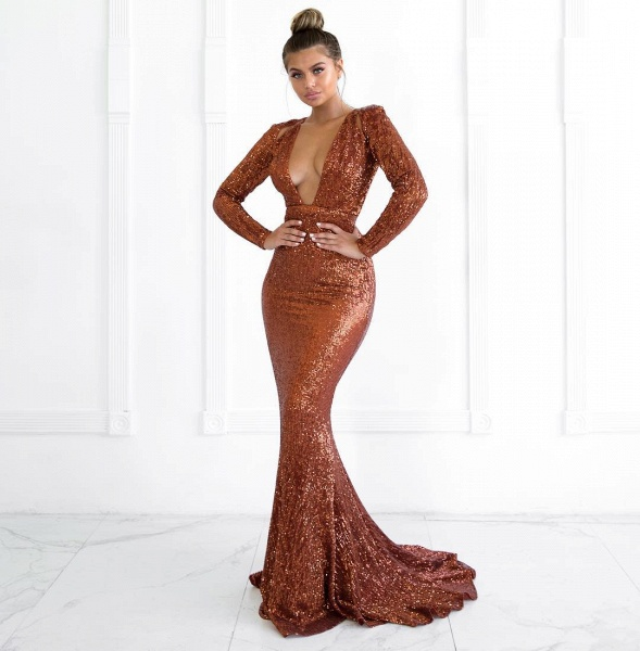 Best V-neck Sequined Mermaid Prom Dress_1