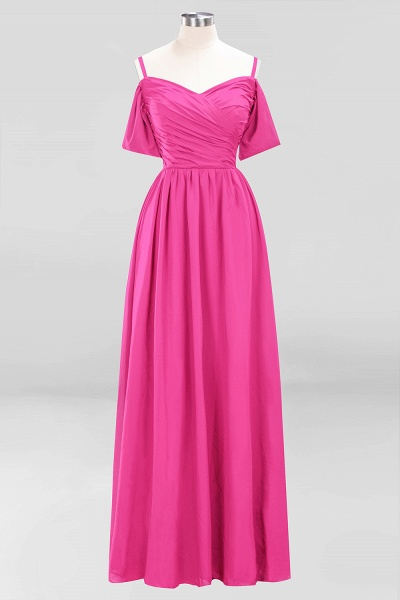 A-Line Chiffon V-Neck Spaghetti Straps Short-Sleeves Floor-Length Bridesmaid Dresses with Ruffles_9