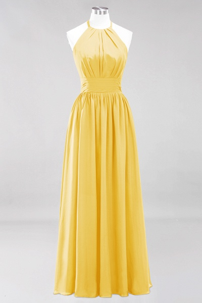 A-line Chiffon Appliques Halter Sleeveless Floor-Length Bridesmaid Dresses with Ruffles_16