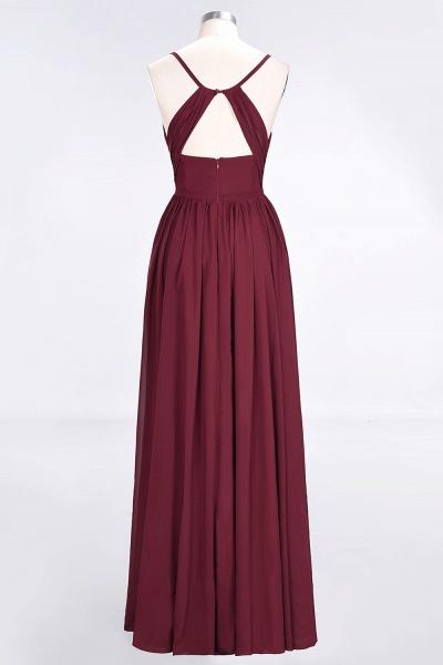 A-Line Chiffon Spaghetti-Straps V-Neck Sleeveless Floor-Length Bridesmaid Dress with Ruffles_2