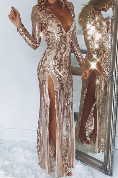 Modest V-neck Tulle Column Prom Dress_1