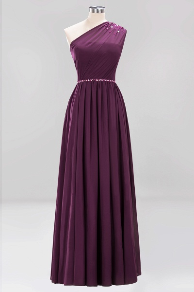 Elegant A-Line Burgundy Chiffon One-Shoulder Sleeveless Ruffles Floor-Length Bridesmaid Dresses with Beadings_19