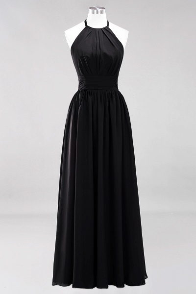 A-line Chiffon Appliques Halter Sleeveless Floor-Length Bridesmaid Dresses with Ruffles_28