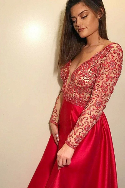 Glorious V-neck Stretch Satin A-line Prom Dress_1