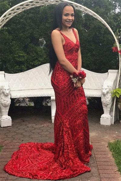 Precious V-neck Sequined Mermaid Prom Dress_3