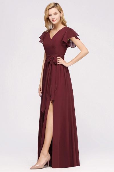 elegant A-line Chiffon V-Neck Short-Sleeves Floor-Length Bridesmaid Dresses with Bow Sash_54
