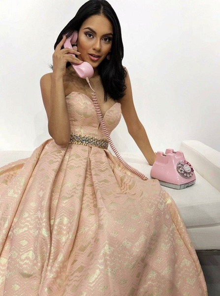 Latest Sweetheart Satin A-line Prom Dress_2
