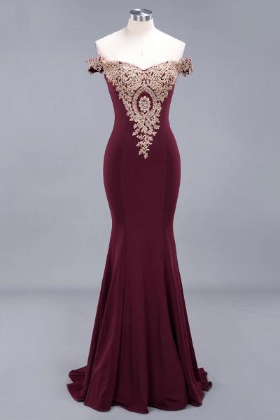 Charming Off-The-Shoulder Floor-Length Mermaid Appliques Zipper Bridesmaid Dress_2