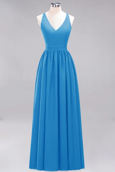 BM0152 Chiffon Lace V-Neck Sleeveless Straps Floor Length Bridesmaid Dress_24