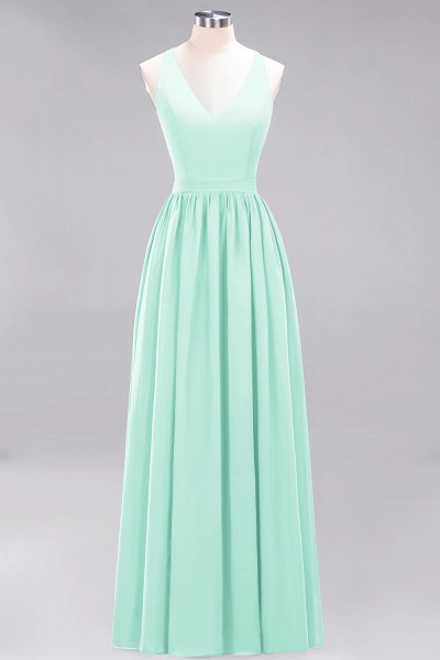 BM0152 Chiffon Lace V-Neck Sleeveless Straps Floor Length Bridesmaid Dress_34