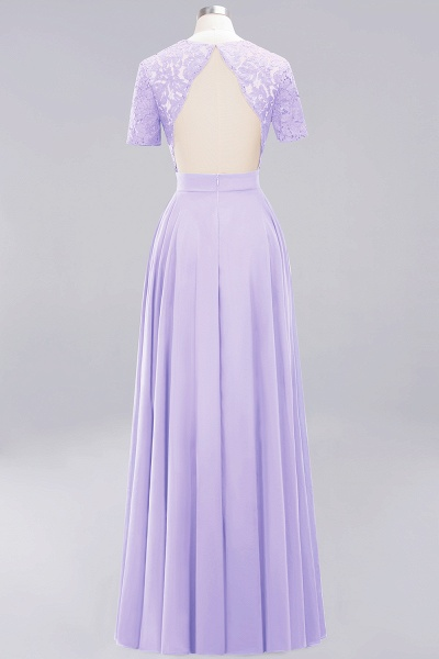 A-Line Chiffon Square Short Sleeves Bridesmaid Dress with Ruffle_14