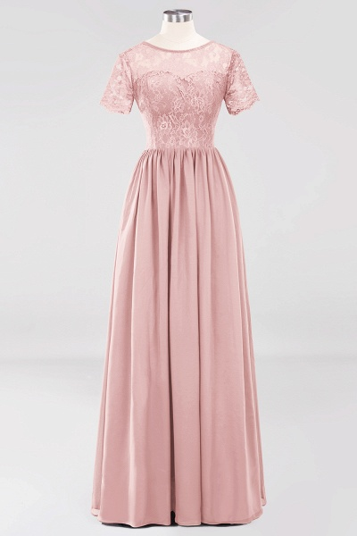 A-line Chiffon Lace Jewel Short-Sleeves Floor-length Bridesmaid Dress_6