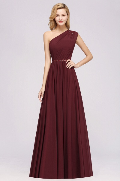 Elegant A-Line Burgundy Chiffon One-Shoulder Sleeveless Ruffles Floor-Length Bridesmaid Dresses with Beadings_35