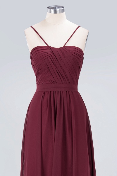 A-Line Chiffon Sweetheart Spaghetti-Straps Backless Floor-Length Bridesmaid Dress with Ruffles_4