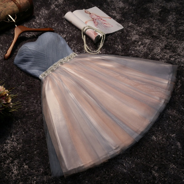 Shiny A-Line Lace Strapless Sleeveless Prom Dress with Bow_4