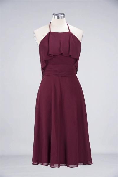 A-Line Chiffon Halter Sleeveless Knee-Length Bridesmaid Dress with Ruffles_8