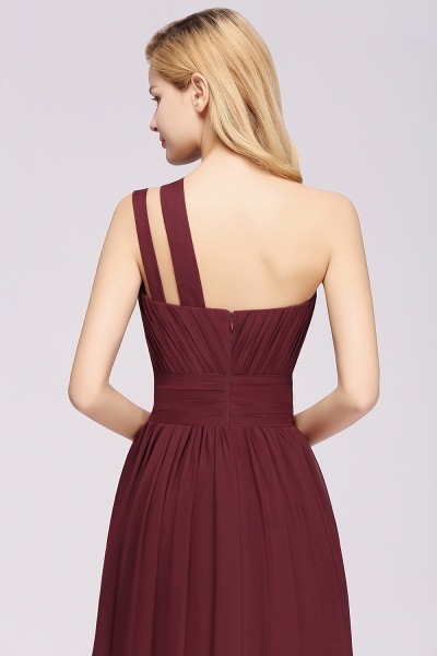 Elegant A-Line Burgundy Chiffon One-Shoulder Sleeveless Ruffles Floor-Length Bridesmaid Dresses_5