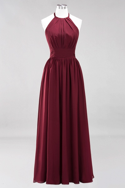 A-line Chiffon Appliques Halter Sleeveless Floor-Length Bridesmaid Dresses with Ruffles_10