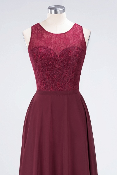 A-Line Chiffon Lace Jewel Sleeveless Hollowout Floor-Length Bridesmaid Dress_4