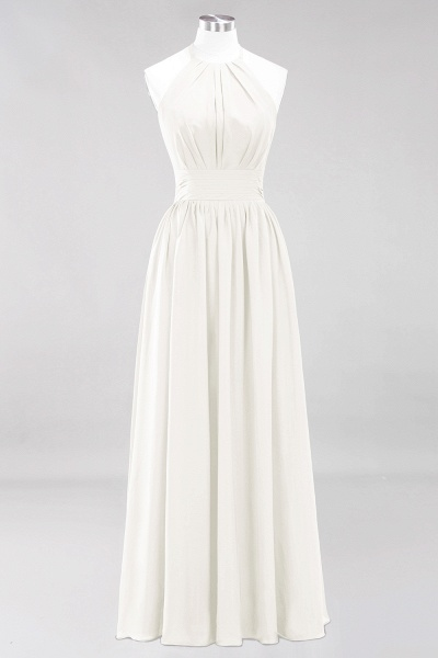 A-line Chiffon Appliques Halter Sleeveless Floor-Length Bridesmaid Dresses with Ruffles_2