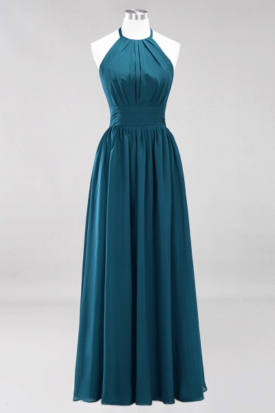 A-line Chiffon Appliques Halter Sleeveless Floor-Length Bridesmaid Dresses with Ruffles_26
