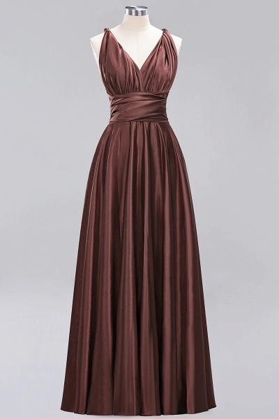 BM0143 Simple A-Line V-Neck Sleeveless Ruffles Floor Length Bridesmaid Dress_11
