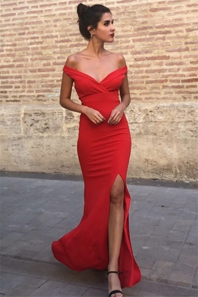 Best Off-the-shoulder Satin Mermaid Prom Dress_3