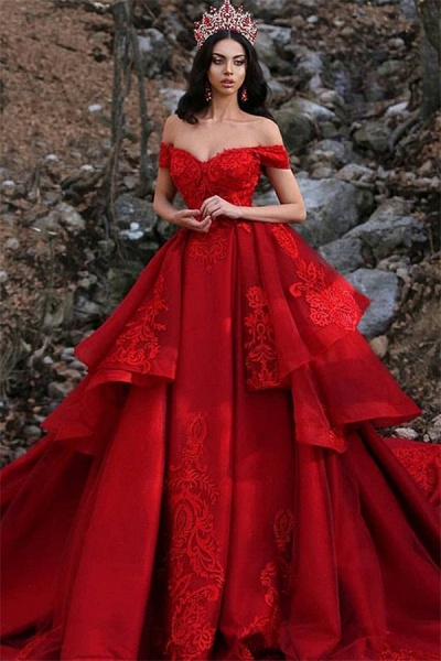 Fascinating Off-the-shoulder Satin Ball Gown Prom Dress_1