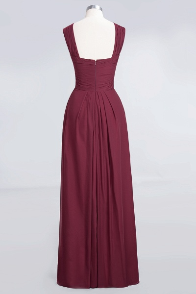 A-Line Chiffon V-Neck Straps Sleeveless Floor-Length Bridesmaid Dress with Ruffles_2