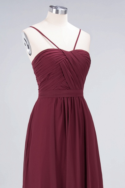 A-Line Chiffon Sweetheart Spaghetti-Straps Backless Floor-Length Bridesmaid Dress with Ruffles_5