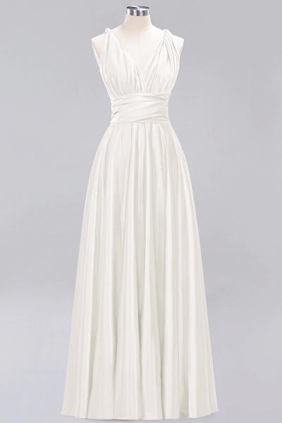 BM0143 Simple A-Line V-Neck Sleeveless Ruffles Floor Length Bridesmaid Dress_2