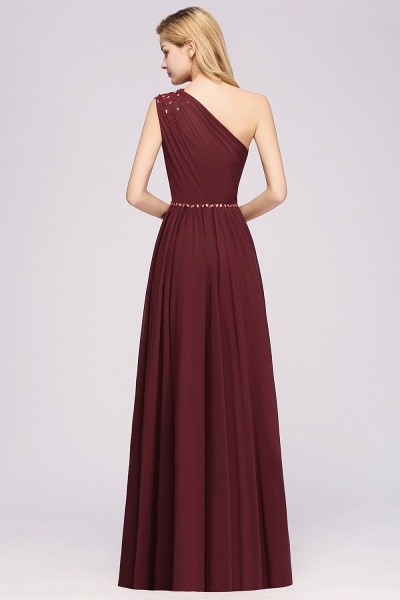 Elegant A-Line Burgundy Chiffon One-Shoulder Sleeveless Ruffles Floor-Length Bridesmaid Dresses with Beadings_36