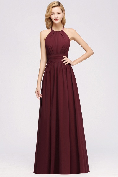 A-line Chiffon Appliques Halter Sleeveless Floor-Length Bridesmaid Dresses with Ruffles_35