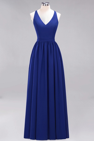 BM0152 Chiffon Lace V-Neck Sleeveless Straps Floor Length Bridesmaid Dress_25