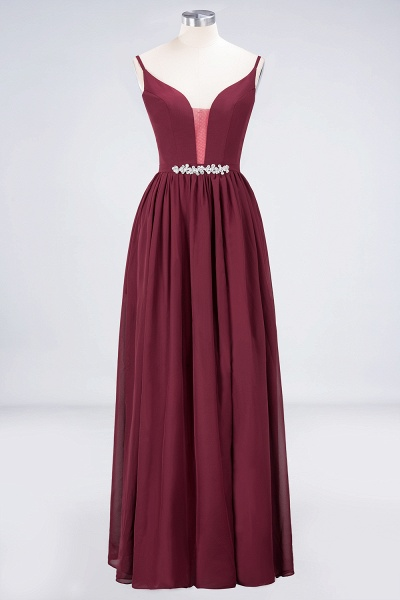 A-Line Chiffon Appliques Spaghetti-Straps Deep-V-Neck Sleeveless Floor-Length Bridesmaid Dress with Ruffles_9