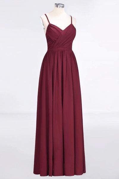 A-Line Chiffon Spaghetti-Straps V-Neck Sleeveless Floor-Length Bridesmaid Dress with Ruffles_3