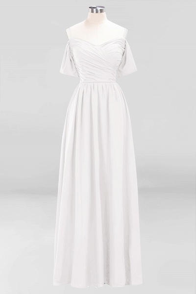 A-Line Chiffon V-Neck Spaghetti Straps Short-Sleeves Floor-Length Bridesmaid Dresses with Ruffles_1