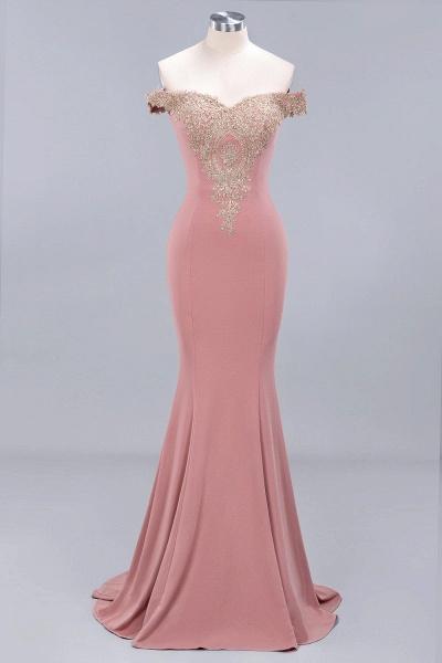 Charming Off-The-Shoulder Floor-Length Mermaid Appliques Zipper Bridesmaid Dress_1