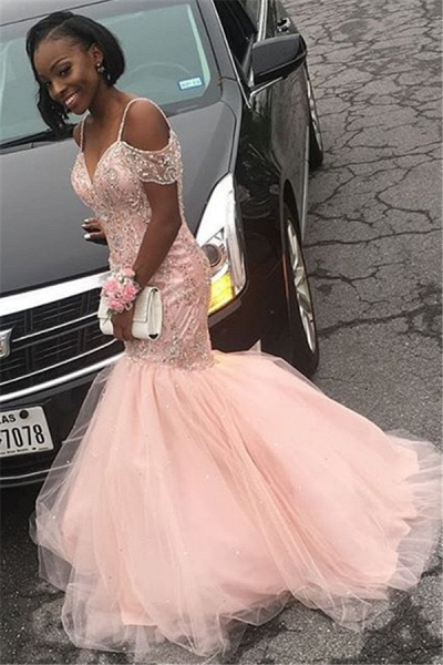 Excellent Spaghetti Straps Tulle Mermaid Prom Dress_2