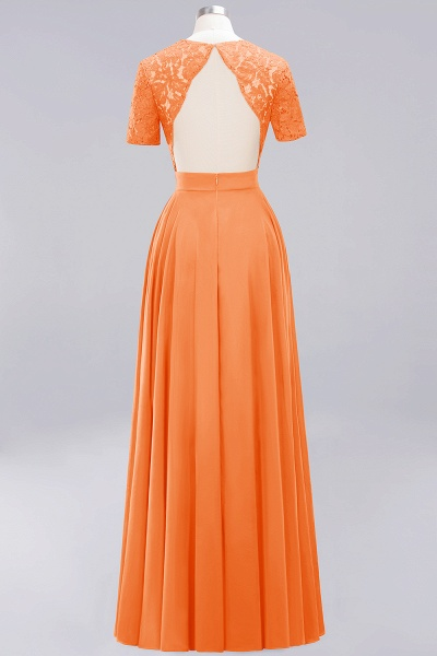A-Line Chiffon Square Short Sleeves Bridesmaid Dress with Ruffle_10