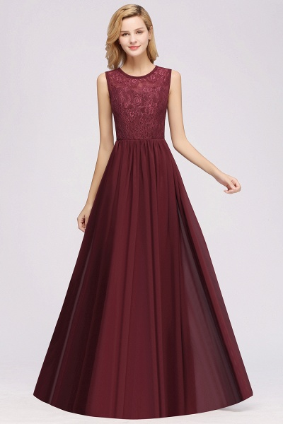 A-line Chiffon Lace Jewel Sleeveless Ruffles Floor-Length Bridesmaid Dresses with Appliques_3