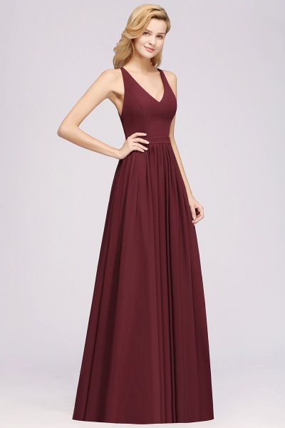 BM0152 Chiffon Lace V-Neck Sleeveless Straps Floor Length Bridesmaid Dress_38
