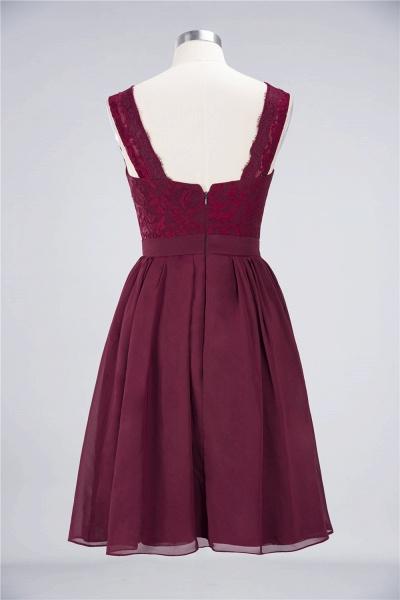 A-Line Chiffon Lace V-Neck Sleeveless Knee-Length Bridesmaid Dress with Ruffles_8
