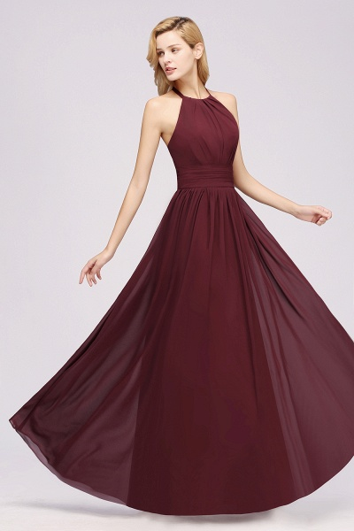 A-line Chiffon Appliques Halter Sleeveless Floor-Length Bridesmaid Dresses with Ruffles_37