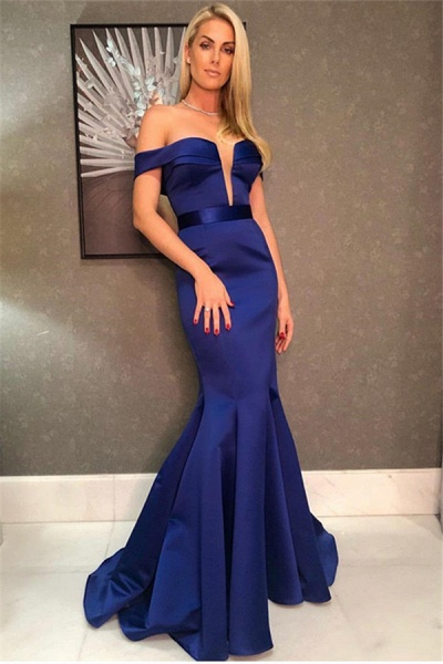 Excellent V-neck Satin Mermaid Prom Dress_1