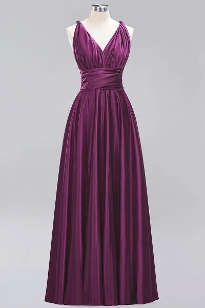 BM0143 Simple A-Line V-Neck Sleeveless Ruffles Floor Length Bridesmaid Dress_19