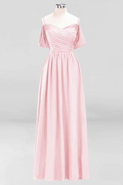 A-Line Chiffon V-Neck Spaghetti Straps Short-Sleeves Floor-Length Bridesmaid Dresses with Ruffles_3