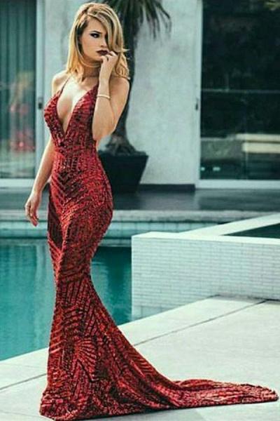 Precious V-neck Sequined Mermaid Prom Dress_4